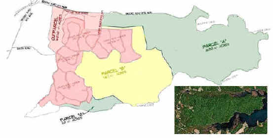 """Parcel """"A"""" (green) is the first purchase completed in 2008. Parcel """"B"""" (yellow) is the Phase 2 purchase. The areas in red, totaling more than 1,000 acres, remain unprotected."""