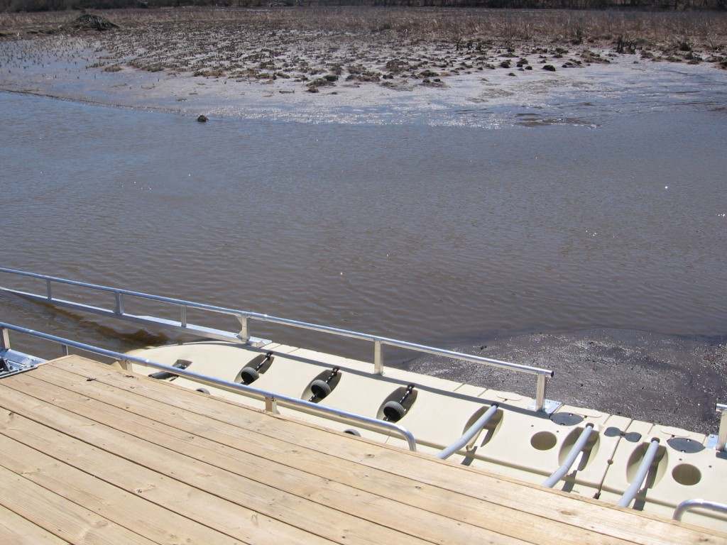 Off the edge of the floating dock is an ADA (Americans with Disabilities Act) compliant boat launch ramp.