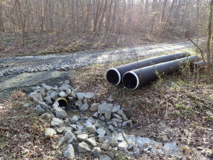 The first phase of the road development included adding culverts for drainage.
